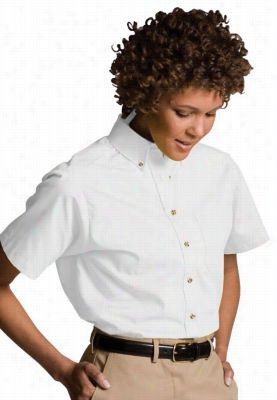 Edwards Garment short sleeve women's oxford chef shirt. - White - XS