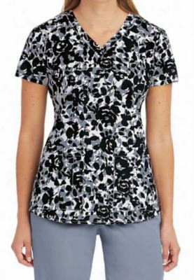 Greys Anatomy Lace Rose print scrub top. - Lace Rose - 2X