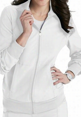 Infinity by Cherokee zip front warm up scrub jacket with Certainty. - White - 5X