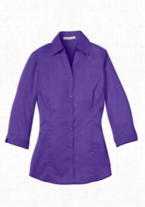 Ladies 3/4 length sleeve blouse. - Purple - M