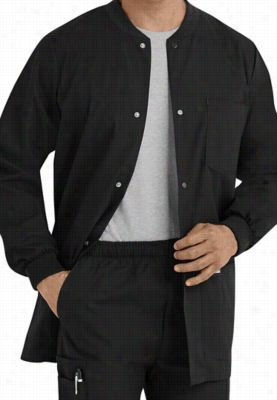 Landau Mens warm-up scrub jacket. - Black - M