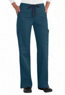 Med Couture Moda modern fit cargo scrub pants. - Teal/eggplant - 2X