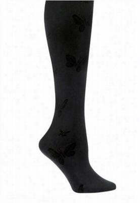 Nurse Mates 1-pack butterfly print compression trouser socks. - Black - OS