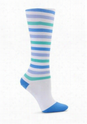 Nurse Mates Striped Compression trouser sock. - Blue-Purple-Green Stripe - OS