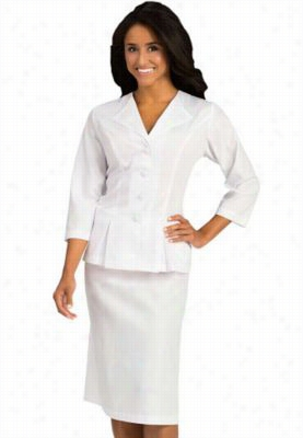 Peaches 3/4 Sleeve Embroidered Collar Dress Suit. - White - 12