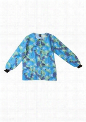 Scrub Wear Butterfly Love print scrub jacket. - Butterfly Love - L
