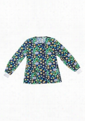 Scrub Wear Navy Puzzle Me print scrub jacket - Navy Puzzle Me - L