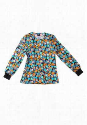 Scrub Wear Olive Electronic Bloom print scrub jacket. - Olive Electronic Bloom - XL