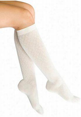 Therafirm light support women's diamond pattern trouser socks. - Winter White - S