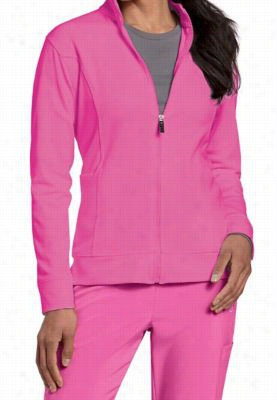 Urbane Performance Breast Cancer Awareness media scrub jacket. - Cotton candy - XL
