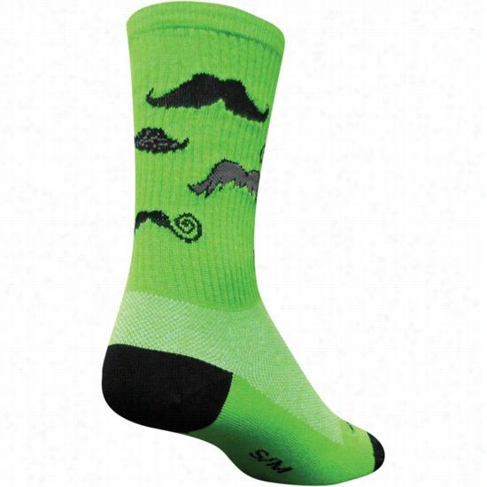 Sock Guy Mustache Sock Green