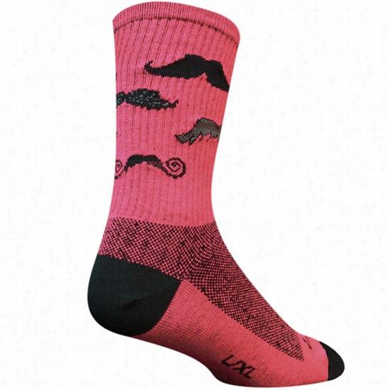 Sock Guy Mustache Sock Pink