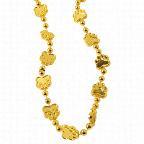 Metallic Paw Print Beads/Gold