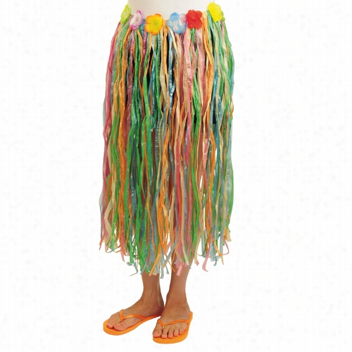 Multicolored Adult Hula Skirt with Flowers