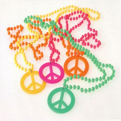 Retro Beads with Peace Sign Pendant Necklaces