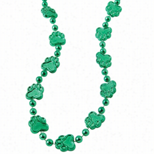 Metallic Paw Print Beads/Green