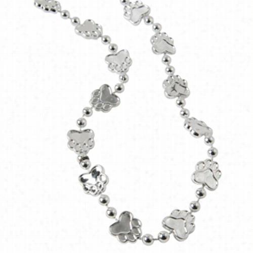 Metallic Paw Print Beads/Silver