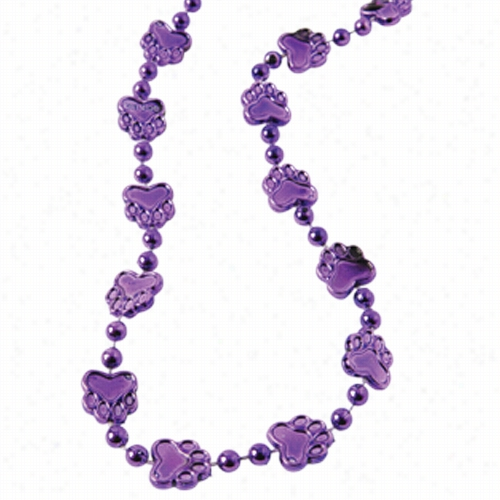 Metallic Paw Print Beads/Purple