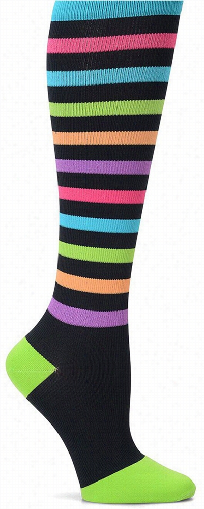 Striped Compression Trouser Sock Blue/purple/green
